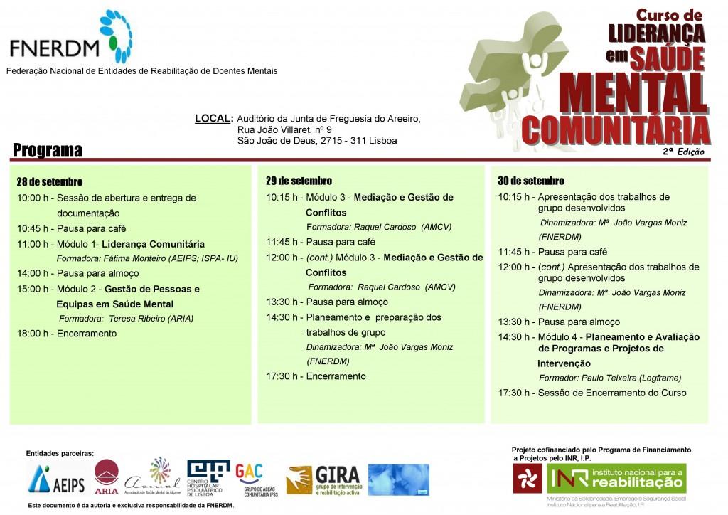 Programa Curso Liderança em Saúde Mental Comunitária 2015