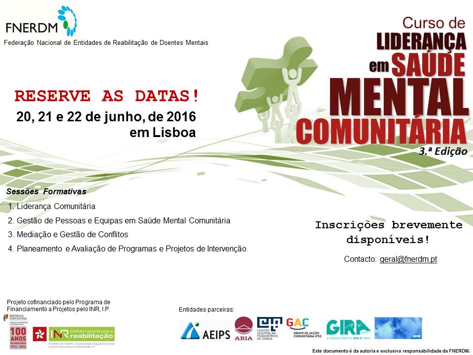 Reserve a Data Curso LiderançaSaudeMentalComunitaria 2016
